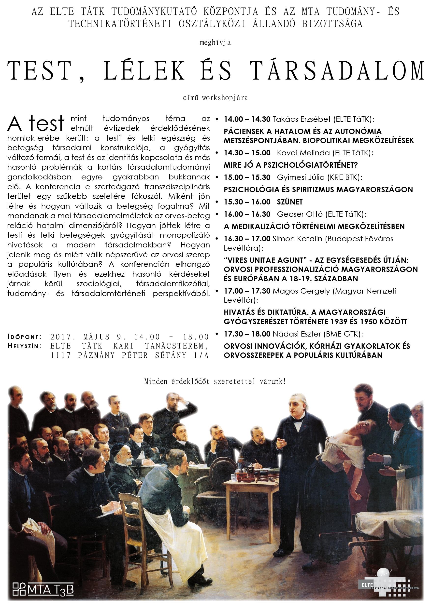 Test, lélek és társadalom - konferencia plakát