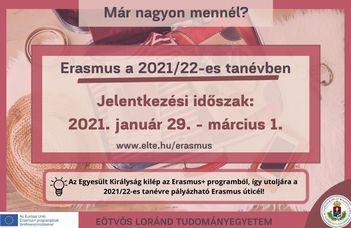 Erasmus+ hallgatói mobilitási program a 2021/22-es tanévre